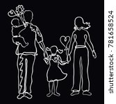 loving healthy family  drawn by ... | Shutterstock . vector #781658524