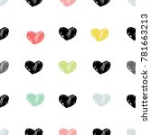 hand drawn pattern with hearts. ... | Shutterstock .eps vector #781663213