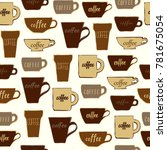 seamless pattern coffee cups.... | Shutterstock .eps vector #781675054
