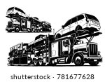 auto transport carrier. vector... | Shutterstock .eps vector #781677628