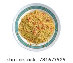 plate of spaghetti with onion ... | Shutterstock . vector #781679929
