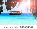 wooden authentic colorful boat... | Shutterstock . vector #781688644