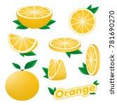 set of fresh citrus sliced and... | Shutterstock .eps vector #781690270