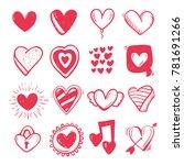 hand drawn set heart .  | Shutterstock .eps vector #781691266