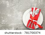 kitchen cutlery with napkin on... | Shutterstock . vector #781700374