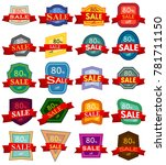 set of twenty discount stickers.... | Shutterstock .eps vector #781711150