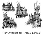 graphical set of castles in... | Shutterstock .eps vector #781712419