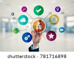 hand of businesswoman touch... | Shutterstock . vector #781716898