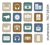 stereo icons. grunge color flat ... | Shutterstock .eps vector #781718104