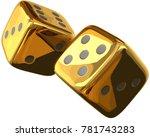 cube dices golden 3d rendering... | Shutterstock . vector #781743283