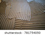 Small photo of tile adhesive on a wall