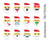 santa set of emoticons with...   Shutterstock .eps vector #781755196