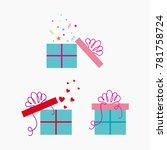 gift box. vector set of gift... | Shutterstock .eps vector #781758724