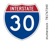 interstate highway 30 road sign | Shutterstock .eps vector #781767340