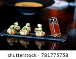 pancakes rolled in the form of... | Shutterstock . vector #781775758