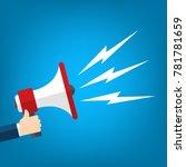 hand holding megaphone   vector ... | Shutterstock .eps vector #781781659