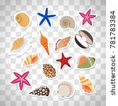 sea shells cute stickers  set...