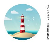 red lighthouse near the sea... | Shutterstock .eps vector #781787713