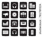 stereo icons. grunge black flat ... | Shutterstock .eps vector #781789324