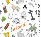 ireland sketch doodles seamless ... | Shutterstock .eps vector #781811848