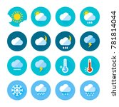 colored weather icons in flat... | Shutterstock . vector #781814044