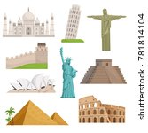 different historical famous... | Shutterstock . vector #781814104