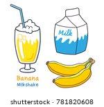 milkshake cocktail glass  milk... | Shutterstock .eps vector #781820608