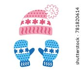 pink winter knitted hat and... | Shutterstock .eps vector #781820614