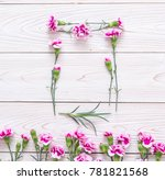 pink spring flower on wooden... | Shutterstock . vector #781821568