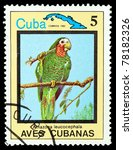 Small photo of CUBA - CIRCA 1983: A stamp printed in Cuba showing Amazona leucocephala, circa 1983