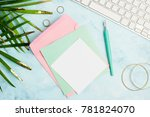 flat lay greeting card... | Shutterstock . vector #781824070