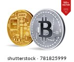 bitcoin. 3d isometric physical... | Shutterstock .eps vector #781825999