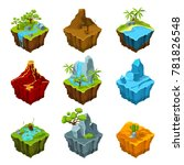 fantasy isometric islands with...   Shutterstock . vector #781826548