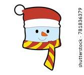 christmas snowman kawaii... | Shutterstock .eps vector #781836379