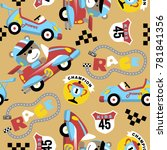 Stock vector seamless pattern of cars racing cartoon theme set with funny racer 781841356