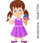 cartoon little girl holding an... | Shutterstock .eps vector #781847704