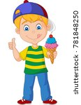 cartoon boy holding an ice cream | Shutterstock .eps vector #781848250