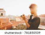 cute young black brunette...   Shutterstock . vector #781850539
