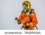 portrait of firefighter man on... | Shutterstock . vector #781854160