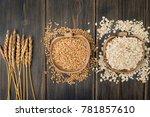 oat spike herbs or spikelets ... | Shutterstock . vector #781857610