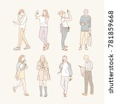 various people using mobile... | Shutterstock .eps vector #781859668
