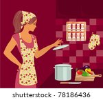 housewife in the kitchen | Shutterstock .eps vector #78186436