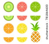set of colored isolated... | Shutterstock .eps vector #781864600