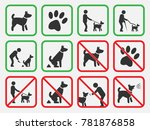 no dogs signs  dogs allowed and ... | Shutterstock .eps vector #781876858