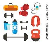 fitness icons set. sport tools...