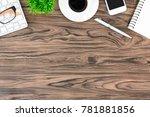 brown wood office desk table... | Shutterstock . vector #781881856