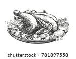 roasted turkey  chicken with... | Shutterstock .eps vector #781897558