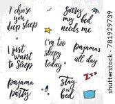 set of vector sleep quotes.... | Shutterstock .eps vector #781929739