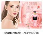 beautiful woman with rose... | Shutterstock .eps vector #781940248