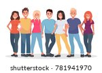 group of happy people in casual ... | Shutterstock . vector #781941970